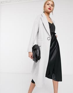 Palones - Langer Mantel mit Ringverzierung und Druckknopfverschluss in Grau