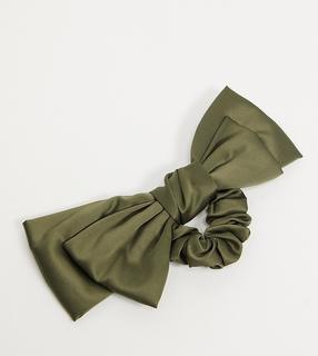 My Accessories - London – Exclusive – Haarband aus Satin in Khaki mit Oversize-Schleife-Mehrfarbig