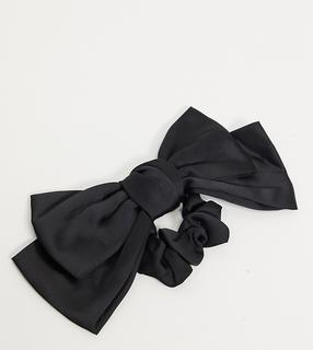 My Accessories - London – Exclusive – Haarband aus schwarzem Satin mit Oversize-Schleife