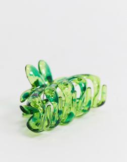 ASOS DESIGN - Haarspange in Grün mit Blumenmuster