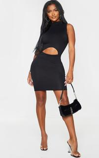 PrettyLittleThing - Shape Black Jersey Cut Out Detail High Neck Bodycon Dress, Black
