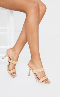 PrettyLittleThing - Sand Square Toe Twin Strap PU Plaited Mule Heels, Sand