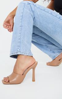 PrettyLittleThing - Camel Square Toe Mule High Heels, Camel