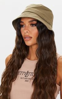 PrettyLittleThing - Khaki Nylon Bucket Hat, Green