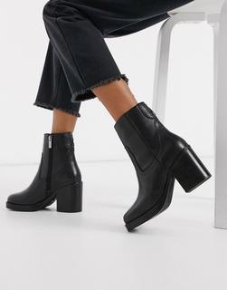 Bronx - Schwarze Ankle-Boots aus Leder mit eckiger Zehenpartie und Absatz