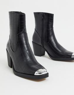 Truffle Collection - Schwarze Ankle Boots im Westernstil mit mittelhohem Absatz
