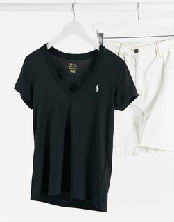Polo Ralph Lauren - T-Shirt mit V-Ausschnitt in Schwarz