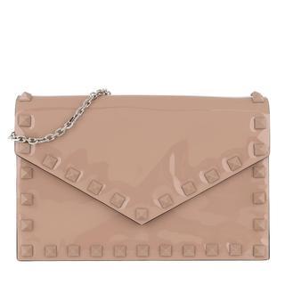 Valentino - Umhängetasche - Small Rockstud Clutch Leather Rose - in beige - für Damen