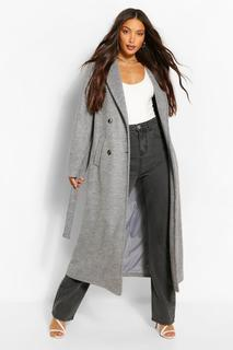 boohoo - Womens Tall Zweireihiger Longline-Mantel In Wolloptik - Grau - 40, Grau