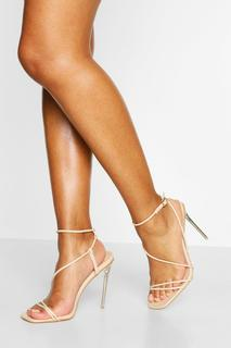 boohoo - Womens Clear Square Toe Strappy Heels - Beige - 5, Beige