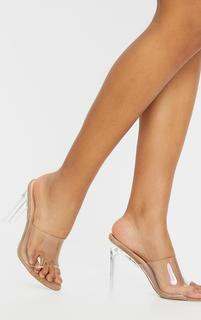 PrettyLittleThing - Sand Towelling Clear Front Flat High Heels, Sand