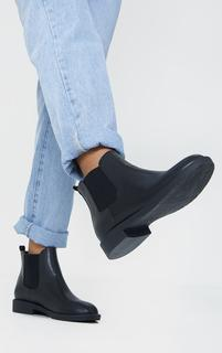 PrettyLittleThing - Black Faux Leather Basic Chelsea Ankle Boots, Black