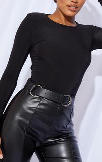 PrettyLittleThing - Black PU Silver Ring Waist Belt, Black