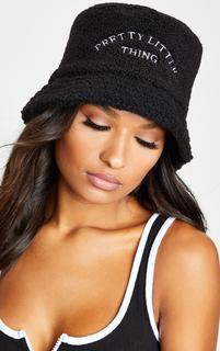 PrettyLittleThing - Black Borg Bucket Hat, Black