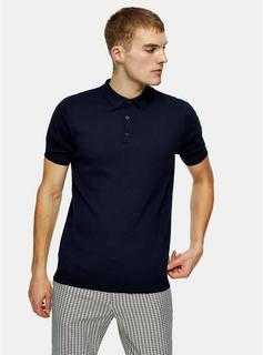 Topman - Mens Considered Navy Button Through Knitted Polo, Navy