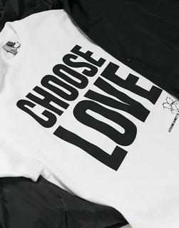 Help Refugees - Choose Love – Weißes Unisex-T-Shirt ausBio-Baumwolle