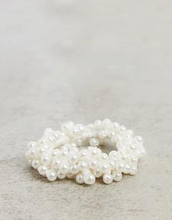 SVNX - Perlenverzierter Haargummi-Weiß