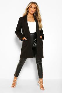 boohoo - Womens Lightweight Wool Look Coat - Black - 36, Black