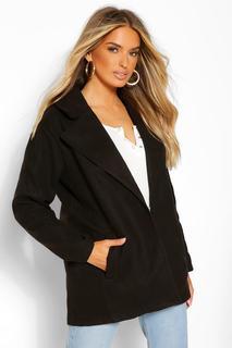 boohoo - Womens Mantel In Wolloptik Mit Oversized Kragen - Schwarz - 40, Schwarz