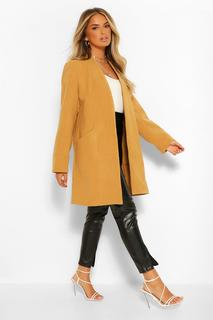 boohoo - Womens Leichter Mantel In Wolloptik - Kamelhaarfarben - 40, Kamelhaarfarben