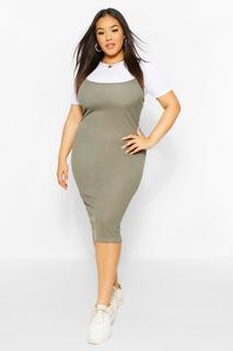 boohoo - Womens Plus 2 In 1 Jersey Pinafore Dress - Khaki - 52, Khaki