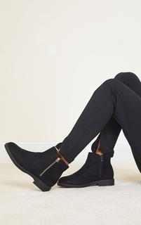 PrettyLittleThing - Black Faux Suede Basic Ankle Boots, Black
