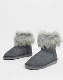 Vero Moda - Stiefel aus grauem Kunstpelz