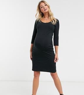 Mama Licious - Mamalicious – Umstandsmode – Midikleid aus Jersey, in Schwarz