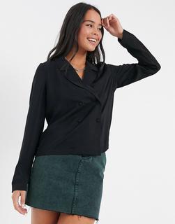 Vero Moda - Zweireihiges Hemd in Schwarz