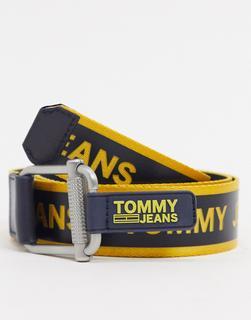 Tommy Jeans - Webgürtel in Schwarz mit gelbem Logo