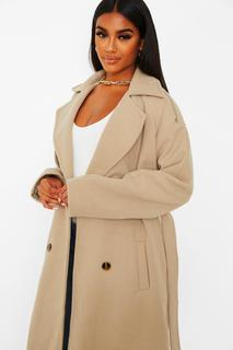 boohoo - Womens Wool Look Belted Trench Coat - Stone - 38, Stone