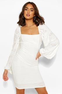 boohoo - Womens Jersey Broderie Balloon Sleeve Dress - White - 6, White