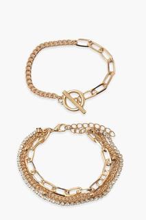 boohoo - Womens 5 Pack T-Bar Clasp And Chain Bracelets - Metallics - One Size, Metallics