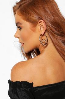 boohoo - Womens Heart Loop Hoop Earrings - Grey - One Size, Grey