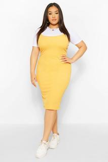boohoo - Womens Plus 2 In 1 Jersey Pinafore Dress - Yellow - 18, Yellow