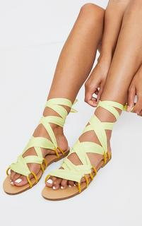 PrettyLittleThing - Lime Ghillie Lace Up Sandals, Green