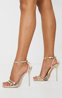 PrettyLittleThing - Gold Wide Fit High Strappy Sandal, Yellow