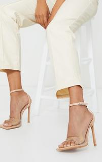 PrettyLittleThing - Nude Extreme Square Toe Clear Strap High Heels, Pink