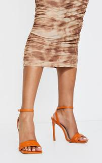 PrettyLittleThing - Rust Extreme Square Toe Double Quilted Strap Heeled Sandals, Orange