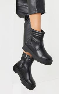 PrettyLittleThing - Black Chunky Sole Biker Quilted Ankle Boots, Black