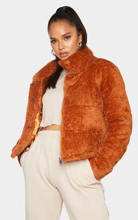 PrettyLittleThing - Ginger Short Faux Fur Padded Puffer Jacket, Ginger
