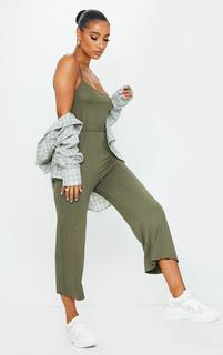 PrettyLittleThing - Khaki Strappy Jersey Culotte Jumpsuit, Green