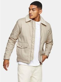 Topman - Mens Cream Ecru Harrington Borg Jacket, Cream