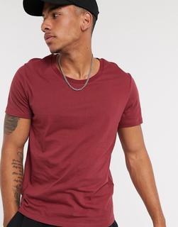 ASOS DESIGN - T-Shirt mit U-Ausschnitt in Burgunderrot