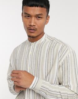 ASOS DESIGN - Übergroßes, gestreiftes Hemd im Stil der 90er in Ecru-Beige