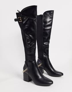 Truffle Collection - Kniehohe schwarze Stiefel mit halbhohem Absatz und Kettendetail