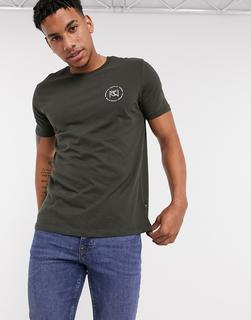 Burton Menswear - T-Shirt in Khaki mit NYC-Print-Grün