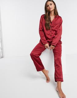 Loungeable - Satin-Pyjamahose in Burgund-Rot