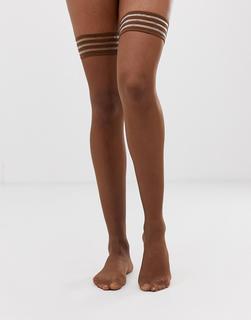 Nubian Skin - Matte halterlose Strümpfe in 10 Denier, dunkel Nude-Beige