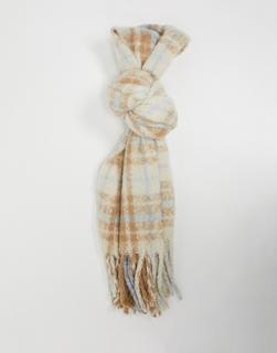 Vero Moda - Schal aus gebürstetem, recyceltem Material in Creme und Blau-Mehrfarbig